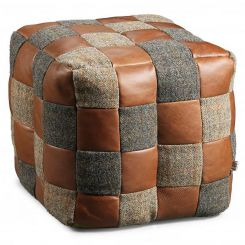 Carlton Furniture Harris Tweed & Brown Leather Patchwork Bean bag