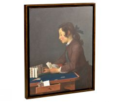 Jonathan Charles Painting on a Honey Walnut Frame House of Cards