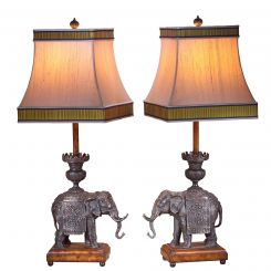 Theodore Alexander Pair Of Verdigris Elephant Table Lamps (inc Shades)