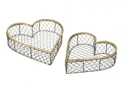Parlane Basket Wire Heart Height 8cm Set of 2