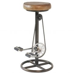 Parlane Stool W/Pedals Leather/Metal Height 76cm