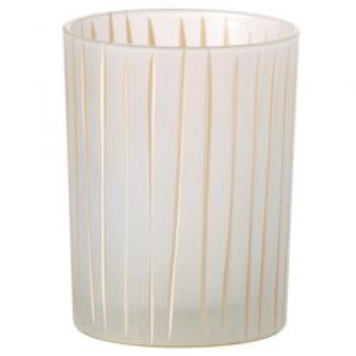 Parlane Tealight Holder Stripe White H10.5 X D8cm