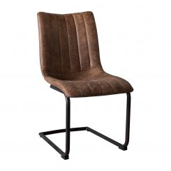 Pavilion Chic Dining Chair Yaren Cantilever Leg in Faux Leather