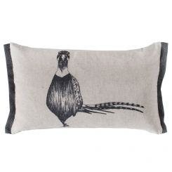 Pavilion Chic Cushion Lone Pheasant Woodland in Grey