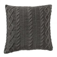 Pavilion Chic Cable Knit Cushion Santo in Grey