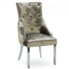 Pavilion Chic Dining Chair Belvedere Knockerback in Velvet Champagne