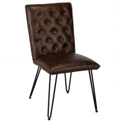 Pavilion Chic Dining Chair Lewis with Faux Leather Button Back
