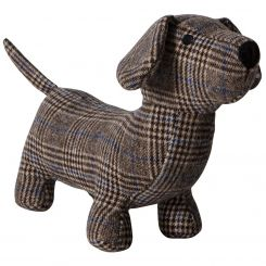 Pavilion Chic Doorstop Dachshund in Check Pine