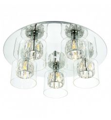 Pavilion Chic Flush Ceiling Light Appollo in Crystal Glass