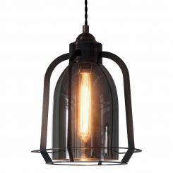 Pavilion Chic Pendant Light Dion in Tinted Black Glass
