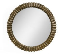 Jonathan Charles Round Wall Mirror Reeded with Antique Glass