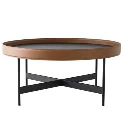 Calligaris Round Coffee Table Arena in Regenerated Leather