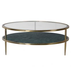 Pavilion Chic Round Coffee Table Argus in Green Marble
