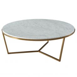 TA Studio Round Coffee Table Fisher in Marble - Brass