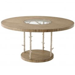 Theodore Alexander Round Dining Table Wynwood - Champagne Textured Coral