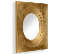 Jonathan Charles Round Mirror Contemporary with Square Frame