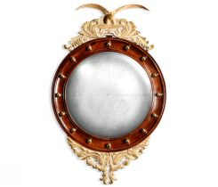 Jonathan Charles Round Mirror Eagle in Eglomise