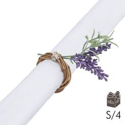 SIA Napkin Ring Lavender Set of 4 Height 12cm