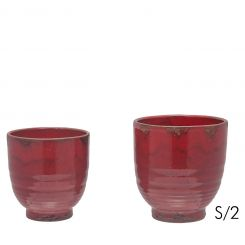 SIA Pot Cosy Red Set Of 2 Diameter 17/13 Cm