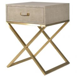 Pavilion Chic Side Table Pearl in Faux Ostrich