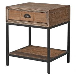 Pavilion Chic Side Table with Drawer Selene in Oak