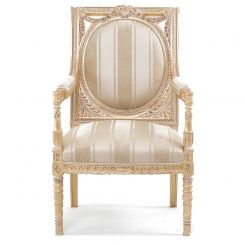 Duresta Flavia Chair in Wendover Stripe Soft Gold