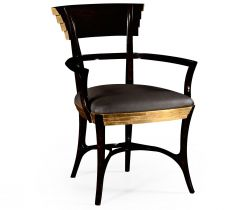 Jonathan Charles Dining Chair with Arms Modernist Stepped in Leather