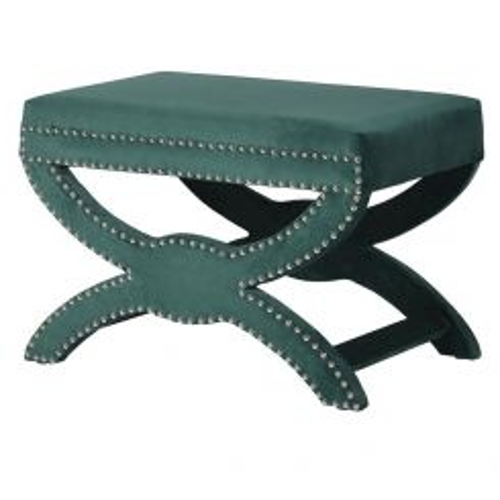 Pavilion Chic Stool X-Leg Leigh in Green Velvet