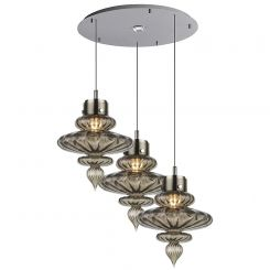 Heathfield & Co. Basilica 3 Round Polished Nickel Ceiling Pendant Light