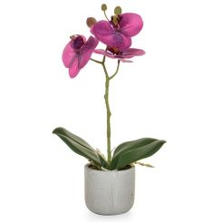 Pavilion Flowers Artificial Potted Phalaenopsis Orchid Real Touch Purple Height 30cm