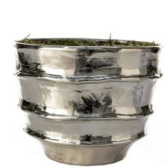 Pavilion Flowers Vase/Planter Bamburgh Silver with Moss & Oasis H22cm