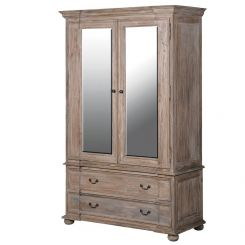 Pavilion Chic Wardrobe Distressed Wood Norwich Mirrored Doors